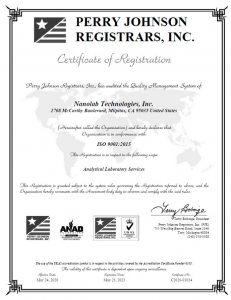Eurofins Nanolab Technologies ISO9001