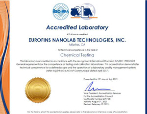 Eurofins Nanolab Technologies ISO17025